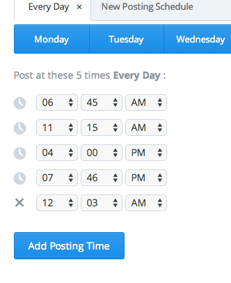 Posting Schedule on Buffer
